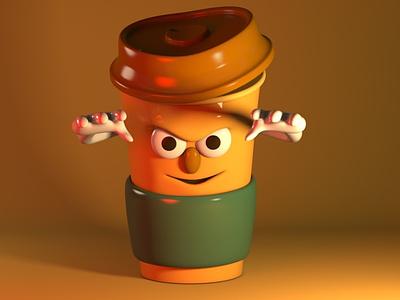 Coffiend brown render character design coffee c4d maxonc4d 3d character design illustration