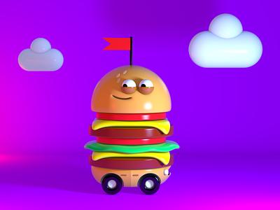 Buns on wheels! character hamburger cinema4d c4d modeling 3d design illustration