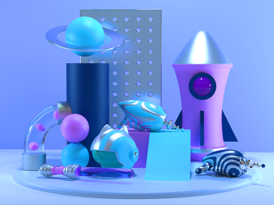 Cotton Candy Space colors shapes geometry abstract cinema4d 3d art toys space c4d 3d illustration