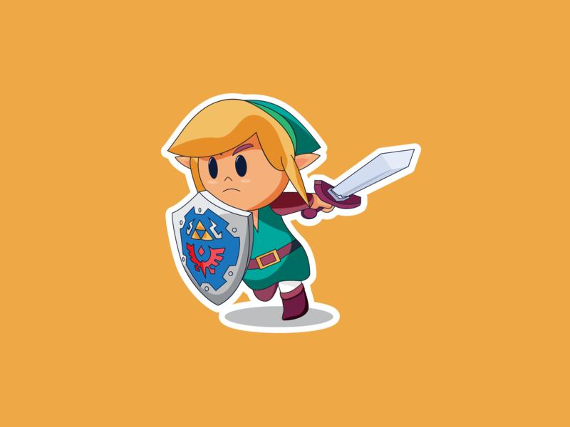 Link's Awakening triforce shield 2d sword links awakening logo stickers icon zelda