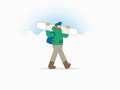 Snowbro motiondesign walkcycle snowboard fake3d boy line art character animation 2d people flat vector design illustration
