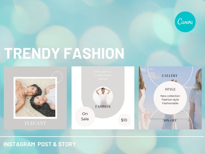 Trendy Fashion Instagram Post & Story Canva