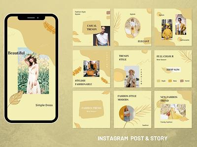 Feminime Yellow Social Media canva Template canvas female yellow