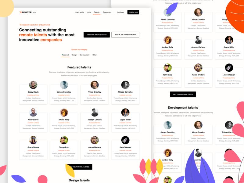 RemoteLists - Talents illustration talents team personal hiring hired promote jobs remote landing talent profile 2d design dashboard app ux clean web ui