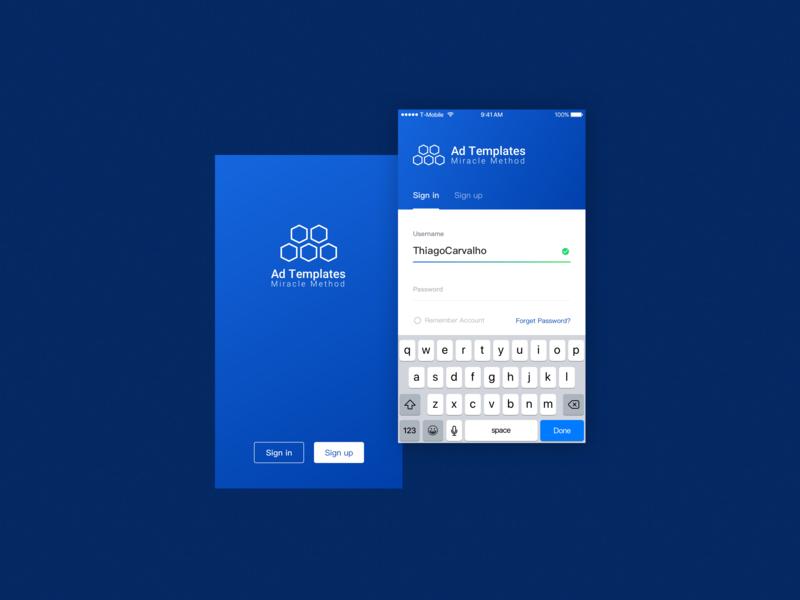 Ad Templates - Login / Sign up onbording user register form screen iphone login form singin signup login blue mobile dashboard 2d design app ux clean web ui