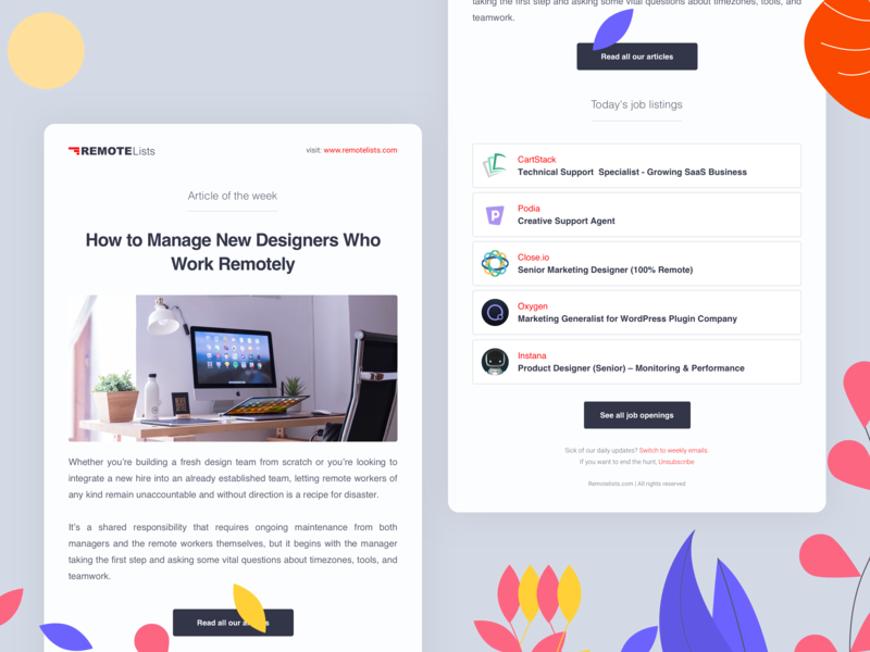 RemoteLists - Newsletter (WIP) message hiring remote article email campaign email app newsletter email jobs illustration mobile landing 2d dashboard design ux clean app web ui