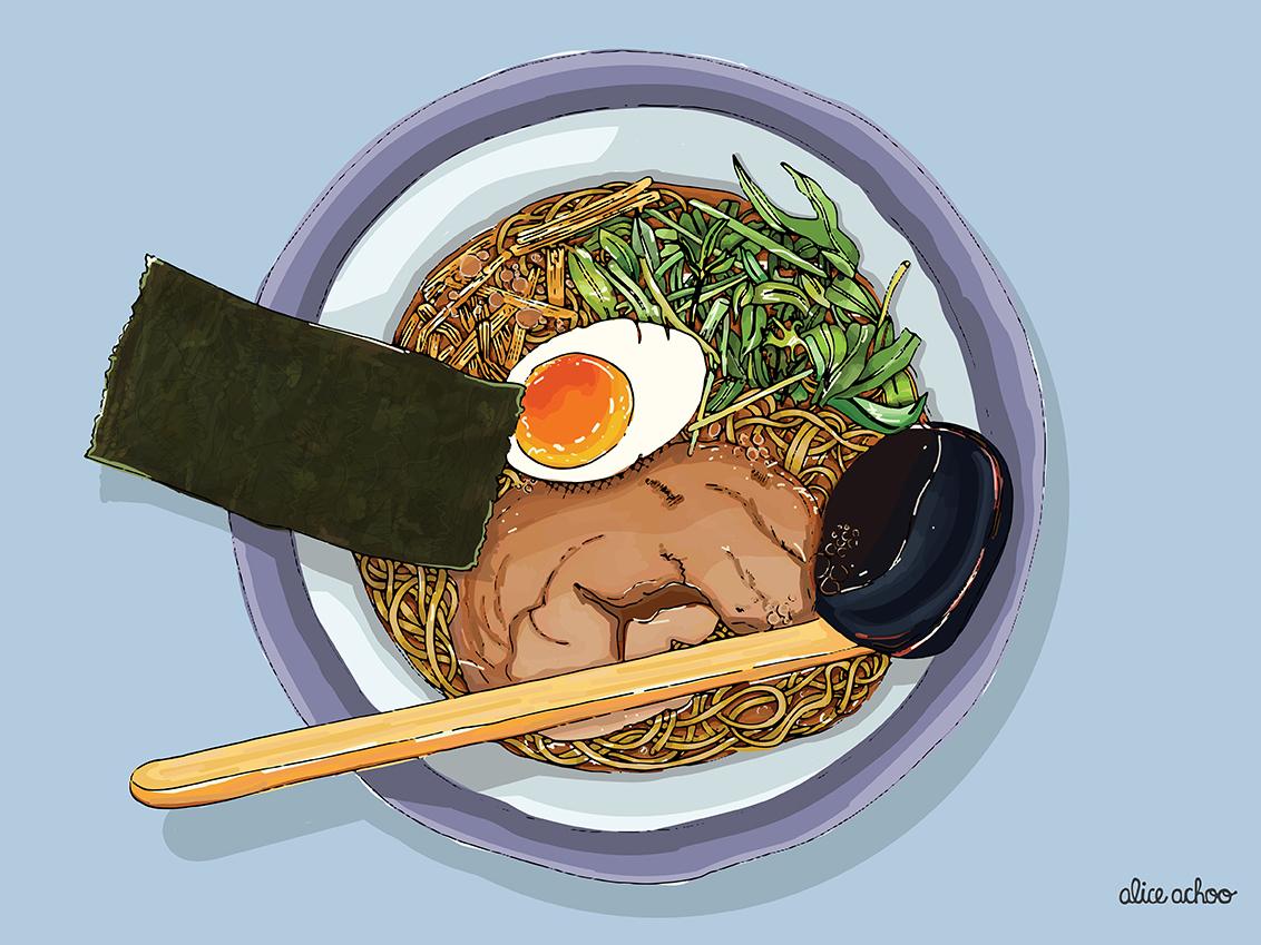 Ramen digitalillustration pork soup restaurant kitchen noodles seaweed egg japanese japan recipe cooking ramen illustration digitalart digital