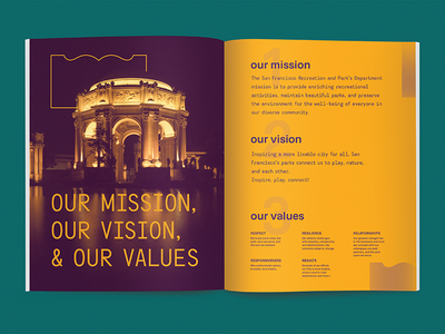 SFRPD Visual Strategy Mission Page palace of fine arts san francisco typography print graphic redesign document city