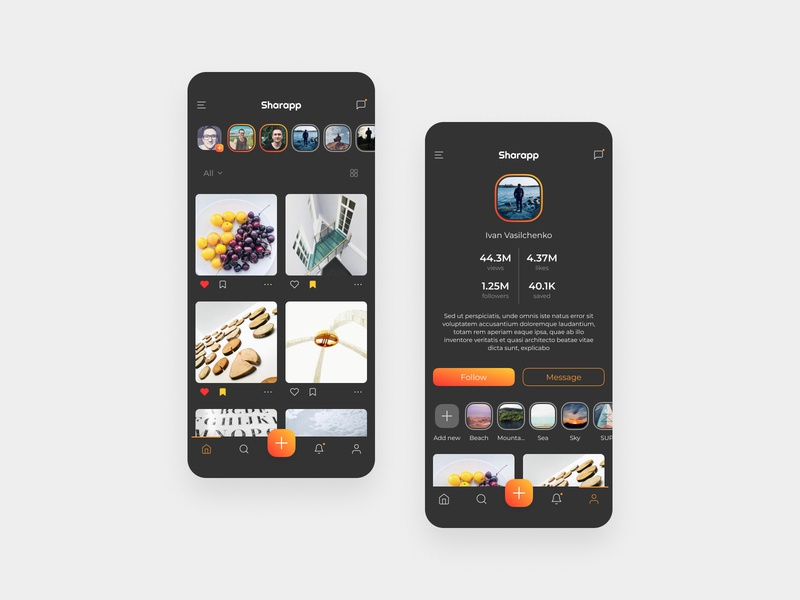 Social App – Dark Theme