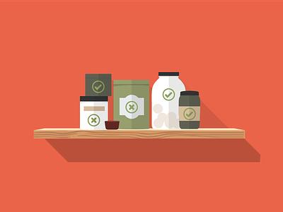Identifying danger foods vector illustration jars shelf flat design