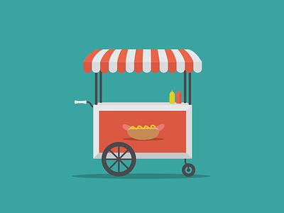 Harnessing Environmental Cues hot dog cart flat design vector