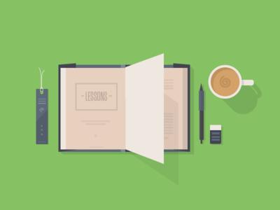 Lessons book bookmark cappuccino pen flat design omada health