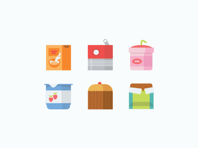 Square Food Icons cereal canned soup smoothie yogurt muffin energy bar
