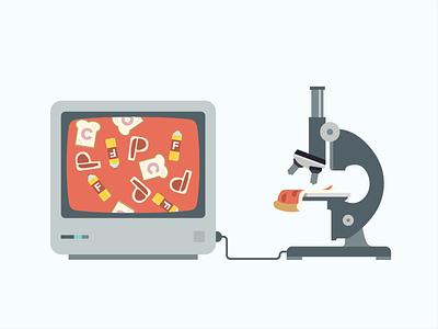 The Three Macronutrients microscope tv protein fat carbs flat design
