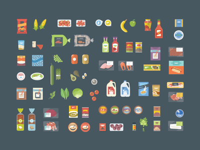 Food Items game food icons groceries flat shopping nutrients