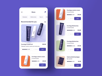 Parallax Card web app skincare curology ecommerce card parallax