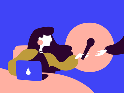 Mic-Passing flat vector flat design microphone girl laptop blue vector illustration illustration