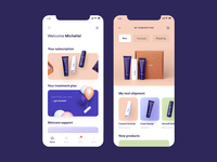 Product Page Parallax Effect effect parallax app platform ecommerce products subscription purple motion beauty cleanser moisturizer skincare curology mobile ui mobile design mobile product page