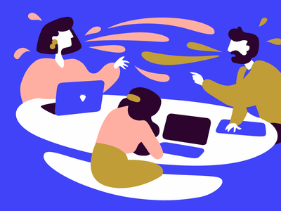Intense Meetings illustrator meeting laptops culture startups medium blog illustration flat design vector flat blue