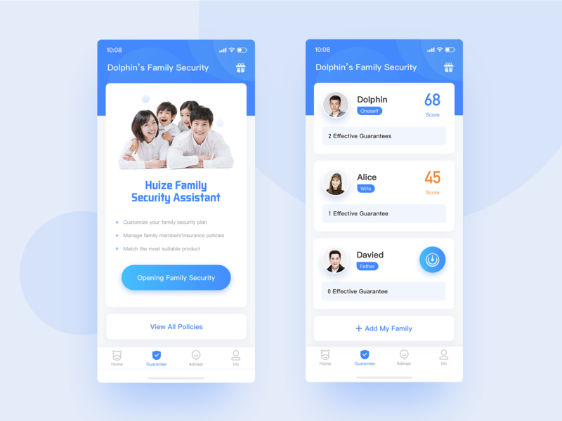 Insurance app design interface design app ui