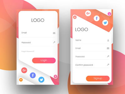 Mobile UI Design color ux ui signup professional login gradient design creative