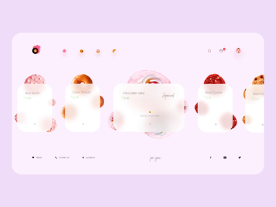 Bakery Website 🍪 cart product design shop user interface motion after effect pastry cookie bakery sweets donut web pink clean ux animation minimal web design ui