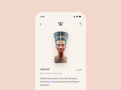 Wikipedia app Redesign 🌍 wiki design figma mobile app redesign application clean minimal iran egypt interaction nefertiti ux ui scroll motion animation wikipedia mobile app