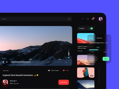 Video Sharing Concept 📹 youtube redesign redesign minimal dark theme site dark ui blur youtuber website film video ux ui web web design nature black clean dark youtube