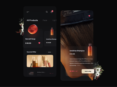 Cosmetic App card bag beauty app app fashion hair beauty clean minimal offer cosmetic mobile design soap shampoo concept black dark ux ui product