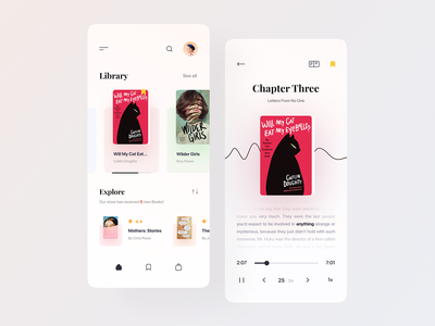 E-Book App editorial online book reading app ebook book store education white clean light minimal wave audiobook library booking app mobile design ux ui books book app