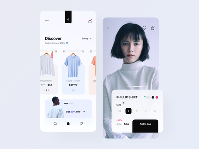 Clothing Store App ui ux ecommerce app clothes fashion mobile design mobile app design t-shirt discover bag minimal shopify shopping style model figma brand women white photo