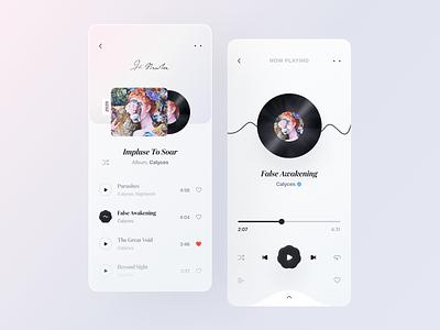 Music Player UI Concept itunes apple music music app calyces band wave play vinyl soundcloud song sound figma ios mobile design mobile app ux ui floral album music player spotify