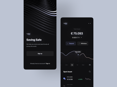 Cryptocurrency Exchange App Design sign up graph finance financial mobile app ethereum bitcoin ada cardano wallet euro deposit chart splash screen onboarding black dark banking blur stats fintech