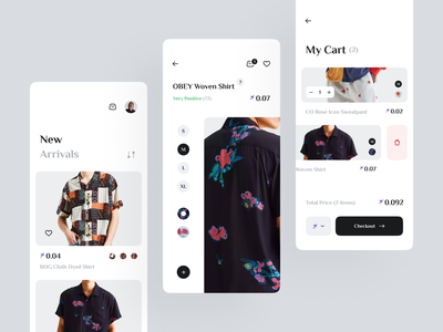 E-Commerce Clothing App outfit checkout size ecommerce ux ui shopping app store clothes cart crypto shirt clean serif minimal mobile app mobile design e-commerce shop fashion app fashion