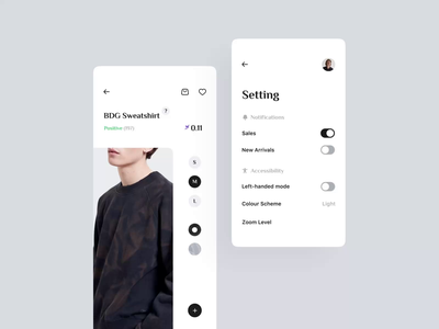 Left-handed mode - E-Commerce Clothing App accessibility after effect interaction prototype scroll options shopping app fashion app ux ui crypto mobile design mobile app swipe toggle setting loading animation motion