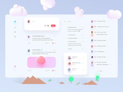 twitter Concept ☄️ post modern interface creative pink website web ux ui simple minimal illustrator illustration icon flat design concept clean app twiiter redesign