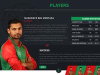 Bangladesh Cricket Board Player Page Design