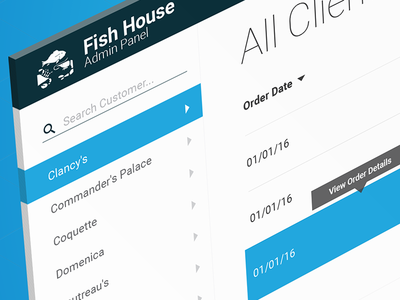 Fish House Admin Dashboard filter sort grid material flat panel search clients products admin dashboard