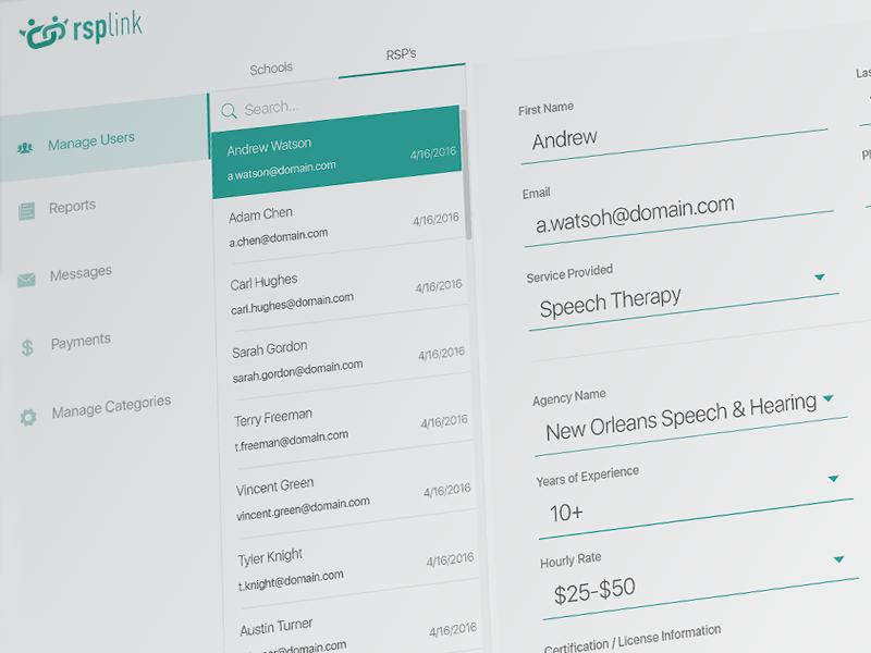 RSPLink Web Application minimal navigation listings search directory simple flat dashboard online web application