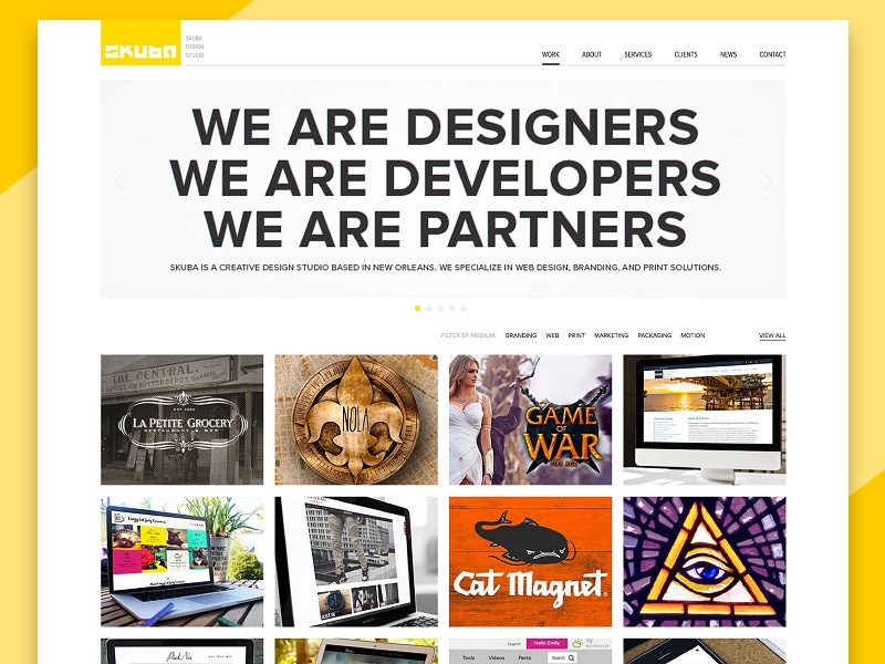Skuba Design Website digital layout design case studies new orleans projects grid creative web website portfolio agency