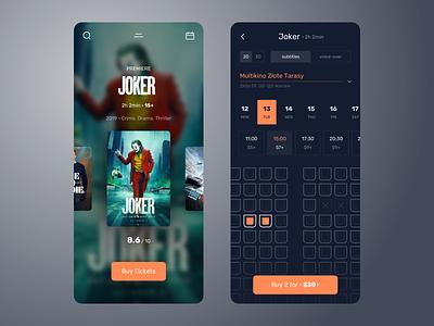 Movie Tickets App mobile iphone round simple minimal dark clean product ui ux interface ios ecommerce movie user experience user inteface uiux ux design ui design app design