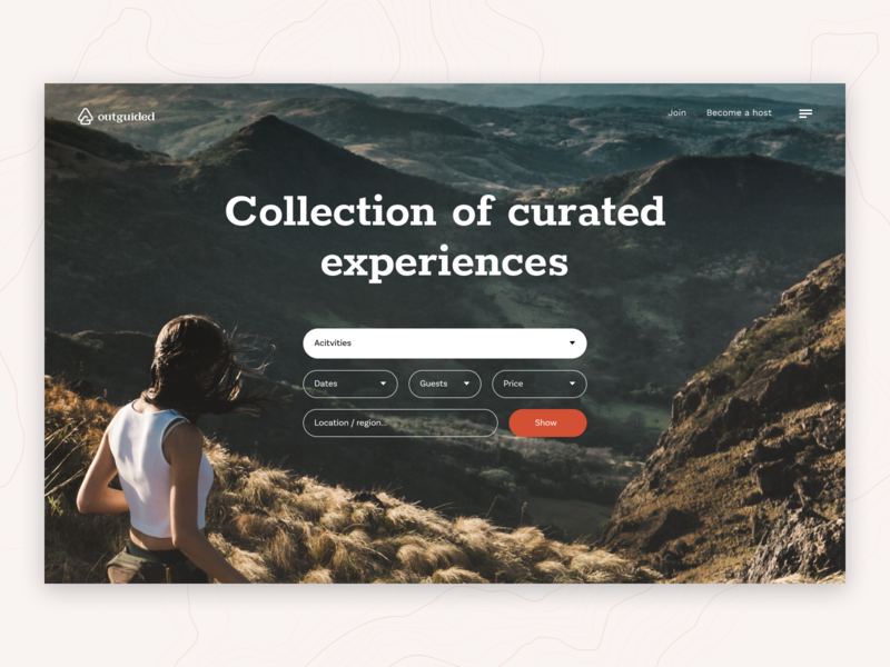 Outguided - the best outdoor experiences typography minimal mountain nature people summer travel photo clean round web uiux simple design ecommerce ux ui