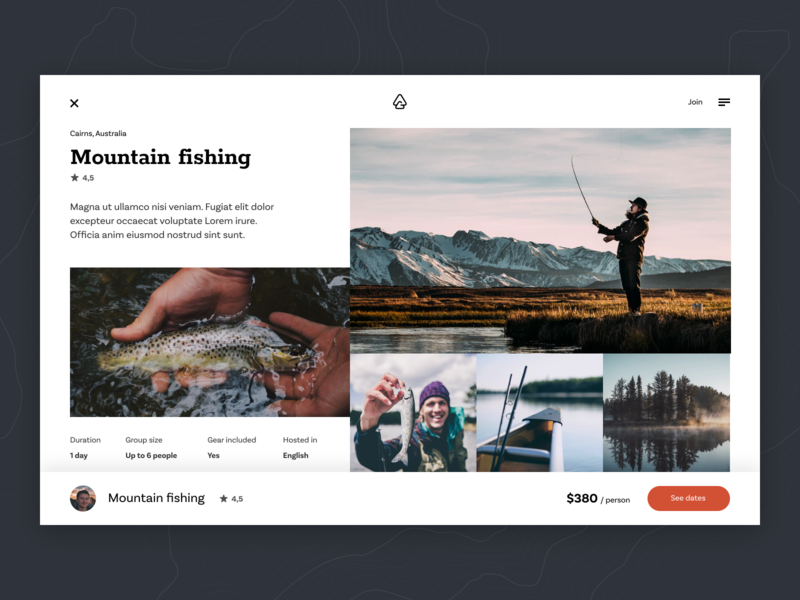 Outguided - experience page header fishing fish web uiux ux ui typography travel summer simple round photo people nature mountain minimal ecommerce design clean