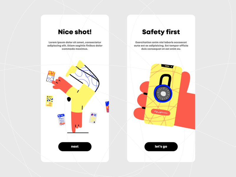 Onboarding with illustrations character flat typography illustrator colors simple round design uiux clean product design android minimal ios mobile app ux ui vector illustration