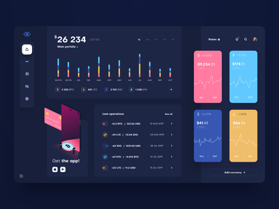Cryptocurrency Exchange Dashboard with illustration - dark mode simple dark mode minimal clean web wallet ux ui product design product interface finance design dashboard cryptocurrency crypto chart blockchain bitcoin app