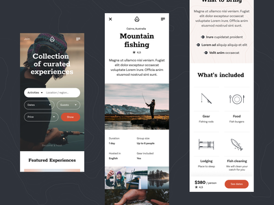 Outguided - mobile screens webdesig website photo summer travel typography uiux web people nature round fishing fish ecommerce clean minimal mobile design ux ui