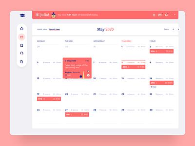 Monthly Calendar View in School Web App app calendar clean design interface minimal product design product school simple ux uiux ui web webapp app design vector