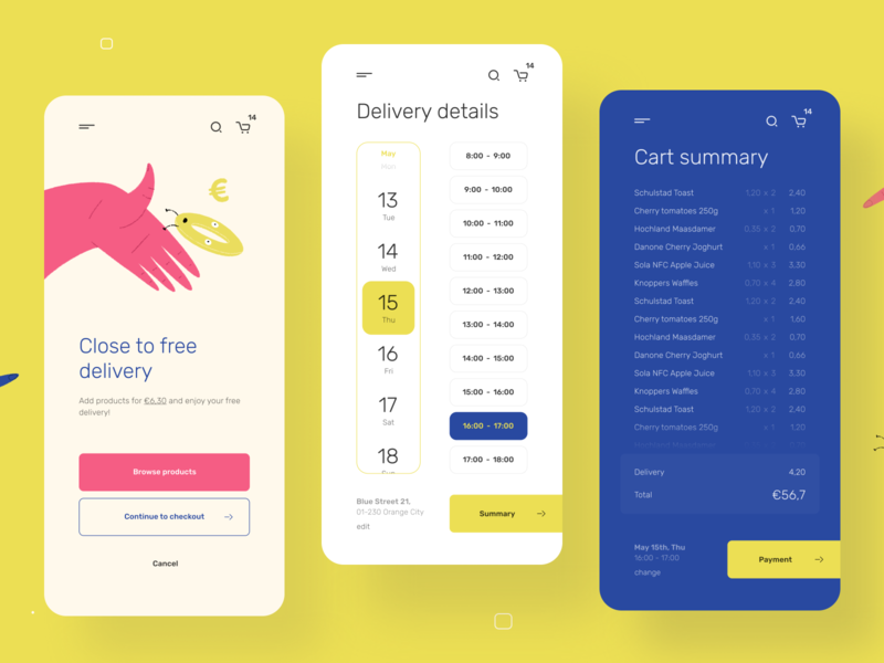 Grocery Checkout - Mobile App figma simple android ios round order delivery uiux cart buy shopping ecommerce clean illustration product design mobile minimal app ui ux