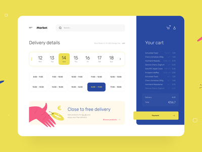 Grocery Checkout - Web App uiux shop shopping ecommerce delivery checkout cart calendar buy simple clean minimal app web product design ux ui illustration figma round