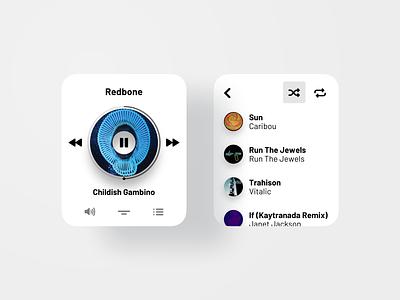 Music Player Exploration - Apple Watch apple watch light round uiux player music stream apple playlist widget smart watch watchos mobile simple clean product design minimal ux app ui